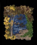 Autumn Landscape Tapestries - Textiles Posters - Stream of Tranquility Poster by Anita Jacques