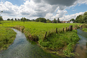 Limburg Photo Prints - Stream through a sunny landscape in summer Print by Jan Marijs