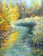 Colors Of Autumn Painting Posters - Stream With Reeds Poster by Marie Veselska