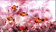 Fish Underwater Paintings - Streaming by Ron Richard Baviello
