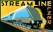 Vintage Posters Prints - Streamline Train Print by Brian James