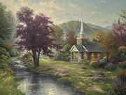 Rabbits Framed Prints - Streams of Living Water Framed Print by Thomas Kinkade