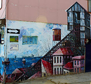Architecture Prints - Street art Valparaiso Chile 17 Print by Kurt Van Wagner