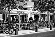 Outdoor Cafes Metal Prints - street cafes and bars Cambrils Catalonia Spain Metal Print by Joe Fox