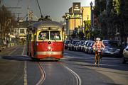 San Francisco Street Photos - Street Car v Bike  by Rob Hawkins