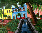 Puerto Rico Paintings - Street Hill In Old San Juan by Luis F Rodriguez