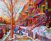 Verdun Winter Scenes Prints - Street Hockey Game In Montreal Winter Scene With Winding Staircases Painting By Carole Spandau Print by Carole Spandau