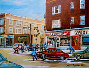 Store Fronts Framed Prints - Street Hockey On Monkland Avenue Paintings Of Montreal City Scenes Framed Print by Carole Spandau