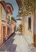 Crete Painting Originals - Street in Aghios Nicolaos Crete by Brian Tucker