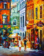 Old Street Paintings - Street in Amsterdam by Leonid Afremov