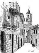 Old Street Drawings Posters - Street in Assisi Italy Poster by Al Intindola