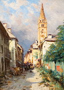 Old Houses Painting Prints - Street in Barcelonette Print by Charles Alexandre Bertier