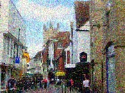 Pointillist Digital Art Metal Prints - Street in Canterbury Metal Print by Grace Renshaw