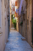Narrow Perspective Framed Prints - Street in Dubrovnik Framed Print by Alexey Stiop