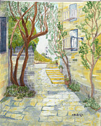 Street Drawings - Street in Jaffa by Nancy Beckerdite