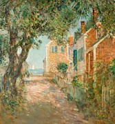 Brick Street Framed Prints - Street in Provincetown Framed Print by  Childe Hassam