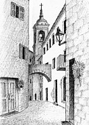 Old Street Drawings Posters - Street in Tuscany Poster by Al Intindola