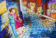 First Love Painting Prints - Street Kiss by Night  Print by Ramona Matei
