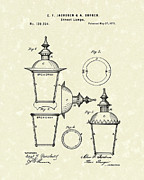 Street Lantern Framed Prints - Street Lamp 1873 Patent Art Framed Print by Prior Art Design
