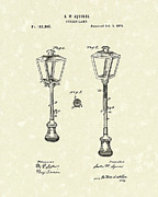 Vintage Lamp Drawings - Street Lamp 1876 Patent Art by Prior Art Design