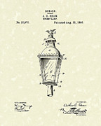 Dove Drawings Metal Prints - Street Lamp 1896 Patent Art Metal Print by Prior Art Design