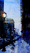 Riverwalk Prints - Street Lamp and Blue Abstract Painting Print by Anita Burgermeister