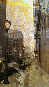 Riverwalk Prints - Street Lamp and Gold Metallic Painting Print by Anita Burgermeister