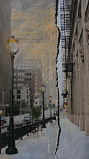 Riverwalk Prints - Street Lamp and Painted Newspaper Print by Anita Burgermeister