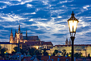 Night Lamp Posters - Street Lamp on The Charles Bridge / Prague Poster by Barry O Carroll