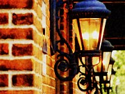 Brick Walls Prints - Street Lamps in Olde Town Print by Michelle Calkins