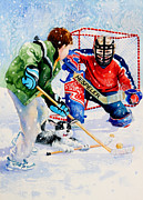 Children Playing Hockey Posters - Street Legal Poster by Hanne Lore Koehler