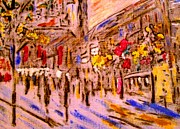 Featured Drawings - Street lights by Lynette  Swart