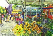 Garden Scene Drawings Prints - Street Market in Munster Germany Print by Carol Wisniewski
