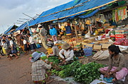 Street Market In Siem Reap Print by Sami Sarkis