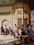 Fountain Scene Framed Prints - Street Merchant in Istanbul Framed Print by Hippolyte Berteaux