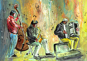 Saxophone Drawings - Street Musicians in Dublin by Miki De Goodaboom
