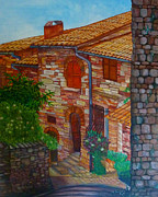 Francis Painting Posters - Street of Assisi Poster by Beata Dagiel