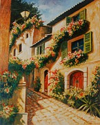 South Of France Posters - street of Provence Poster by Santo De Vita