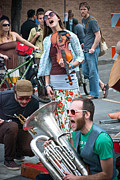 Tuba Prints - Street Performers in Austin Texas Print by Sonja Quintero