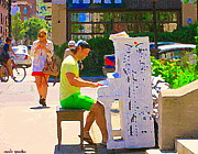 Pianists Prints - Street Pianist Plays Painted Public Piano Mont Royal Downtown Montreal Street Musicians C Spandau  Print by Carole Spandau