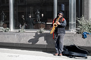 Glass Wall Digital Art - Street Sax by Paulette Wright