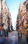 Street Scene Barcelona Print by Robina Osbourne