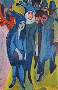 Blue Car Framed Prints - Street Scene Framed Print by Ernst Ludwig Kirchner
