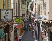 Street Scene In Antibes Print by Allen Sheffield