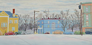 Winterscape Painting Originals - Street Scene in December by Paul Skelley