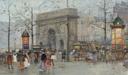 Streets Metal Prints - Street Scene in Paris Metal Print by Eugene Galien-Laloue