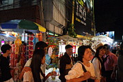 Nightime Prints - Street Scene - Night Street Market - Chiang Mai Thailand - 01133 Print by DC Photographer