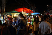 Nightime Prints - Street Scene - Night Street Market - Chiang Mai Thailand - 01135 Print by DC Photographer
