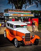 Orange Car Art - Street Scene by Perry Webster