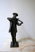 Featured Sculpture Framed Prints - Street violinist Framed Print by Milen Litchkov
